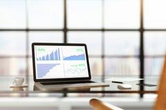 Ordinateur portable avec des statistiques financières sur une table en verre avec la tasse de Co Image libre de droits