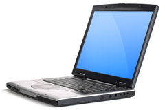 Ordinateur portable avec l'écran bleu de gradient Images libres de droits
