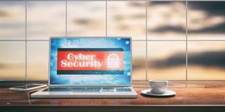 Ordinateur portable avec l'écran de sécurité de cyber sur le bureau Fond brouillé de ciel illustration 3D Photographie stock libre de droits