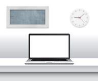 Ordinateur portable avec l'écran vide sur le bureau dans l'intérieur minimalistic de bureau illustration de vecteur