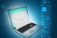 Ordinateur portable avec l'email Images stock