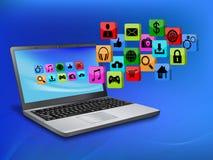 Ordinateur portable avec l'icône d'application Image stock