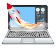 Ordinateur portable avec la fusée de jouet de poussée d'accélération de vitesse Images stock