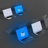 Ordinateur portable avec le cadenas comme sécurité d'Internet Photographie stock