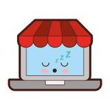 Ordinateur portable avec le caractère de kawaii du commerce électronique APP Images libres de droits