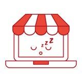 Ordinateur portable avec le caractère de kawaii du commerce électronique APP Images stock