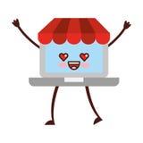 Ordinateur portable avec le caractère de kawaii du commerce électronique APP Photo stock