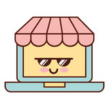 Ordinateur portable avec le caractère de kawaii du commerce électronique APP illustration de vecteur