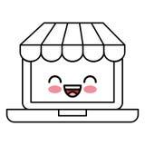 Ordinateur portable avec le caractère de kawaii du commerce électronique APP Image stock