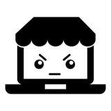 Ordinateur portable avec le caractère de kawaii du commerce électronique APP Image libre de droits