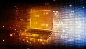 Ordinateur portable avec le code binaire Images libres de droits