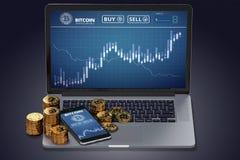 Ordinateur portable avec le diagramme de Bitcoin à l'écran parmi des piles de Bitcoin Photographie stock libre de droits