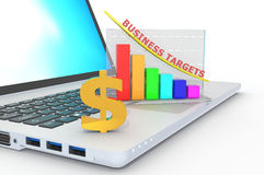 Ordinateur portable avec le graphique de croissance de bénéfices Image stock