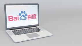 Ordinateur portable avec le logo de Baidu Rendu conceptuel de l'éditorial 3D d'informatique Photographie stock libre de droits