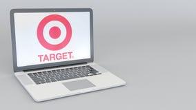 Ordinateur portable avec le logo de Target Corporation Rendu conceptuel de l'éditorial 3D d'informatique Photographie stock libre de droits