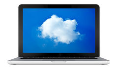 Ordinateur portable avec le nuage Photo stock