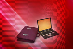 Ordinateur portable avec le sac Photos stock