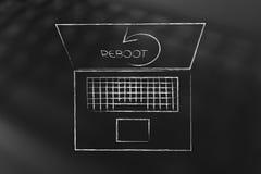 Ordinateur portable avec le symbole de remise à zéro sur l'écran Image stock