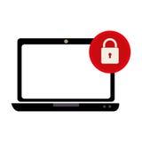 Ordinateur portable avec le symbole de sécurité Photographie stock