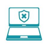 Ordinateur portable avec le symbole de sécurité Photo stock