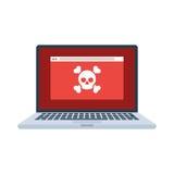 Ordinateur portable avec le virus Photographie stock libre de droits