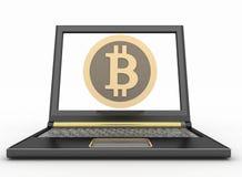 Ordinateur portable avec une icône de bitcoin Concept en ligne d'achats Photographie stock libre de droits