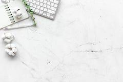 Ordinateur portable, branche de coton, carnet sur l'espace étendu plat de copie de fond blanc Indépendant minimal, espace de trav image stock