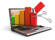 Ordinateur portable, ciseaux et graphique (chemin de coupure inclus) Photographie stock libre de droits