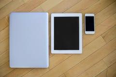 Ordinateur portable, comprimé et téléphone molbile Images libres de droits
