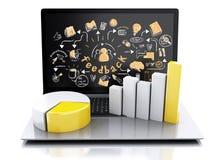 ordinateur portable 3d avec le croquis et les diagrammes de rétroaction Photographie stock libre de droits
