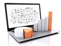 ordinateur portable 3d avec le croquis et les diagrammes d'obtention du diplôme Images libres de droits