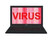 ordinateur portable 3d avec le ` rouge d'écran de code binaire et de virus de ` de mot Photographie stock libre de droits