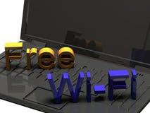 ordinateur portable 3D avec le signe gratuit de WiFi Photos libres de droits
