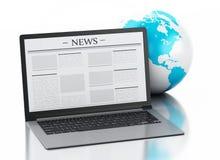 ordinateur portable 3d avec les actualités et le globe de la terre Concept de media Photographie stock libre de droits