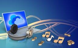 ordinateur portable 3d et écouteurs ordinateur portable et écouteurs Photo stock