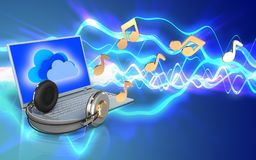 ordinateur portable 3d et écouteurs ordinateur portable et écouteurs Photographie stock libre de droits