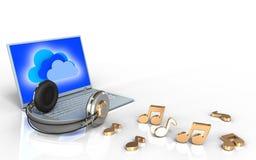 ordinateur portable 3d et écouteurs ordinateur portable et écouteurs illustration libre de droits