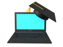 ordinateur portable 3d et chapeau d'obtention du diplôme Photo stock