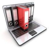 Ordinateur portable 3d et dossiers Images stock