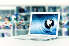 Ordinateur portable d'Internet Photo stock