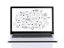 ordinateur portable 3d moderne avec le croquis d'éducation Images libres de droits