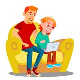 Ordinateur portable d'And Son Using de père sur Sofa Vector Illustration d'isolement illustration libre de droits