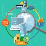 Ordinateur portable de concept de commerce électronique d'achats d'Internet et téléphone intelligent plats Photos libres de droits