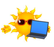 ordinateur portable de 3d Sun Illustration Stock