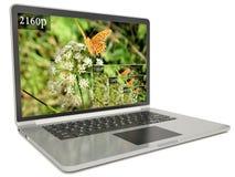 ordinateur portable de l'écran 4k avec ultra la résolution moderne de hd Image stock
