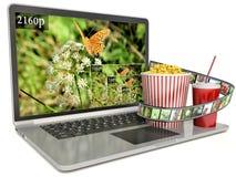 ordinateur portable de l'écran 4k avec ultra la résolution moderne de hd Photographie stock