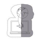 ordinateur portable de technologie cassé par silhouette monochrome de vue de face d'autocollant avec l'icône de carte du monde de Photos libres de droits