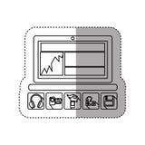 ordinateur portable de technologie de silhouette d'autocollant avec des apps d'icône Photographie stock