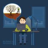 Ordinateur portable en ligne de bureau d'homme d'éducation Illustration de Vecteur