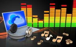 ordinateur portable et écouteurs audio du spectre 3d illustration libre de droits